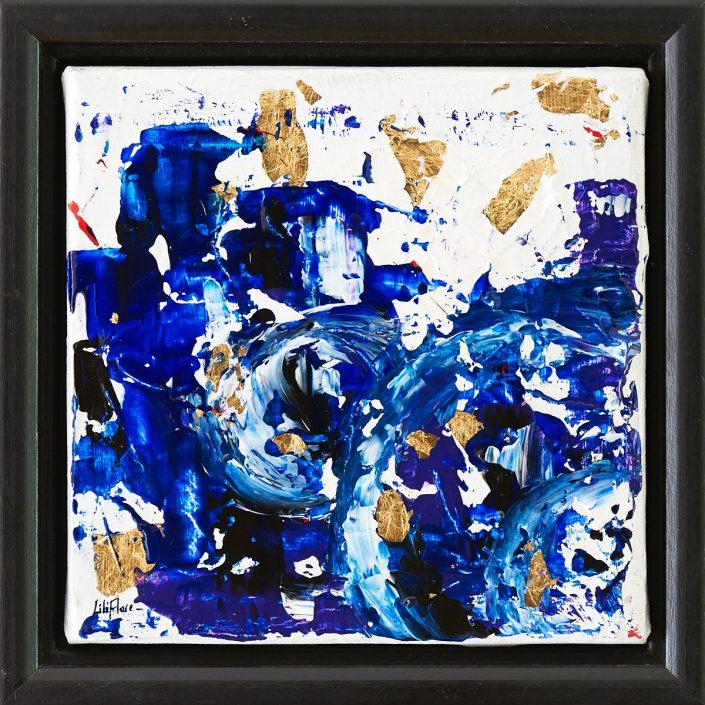 Peinture acrylique abstraite bleue ville engloutie avec feuille dorée - LiliFlore 2016