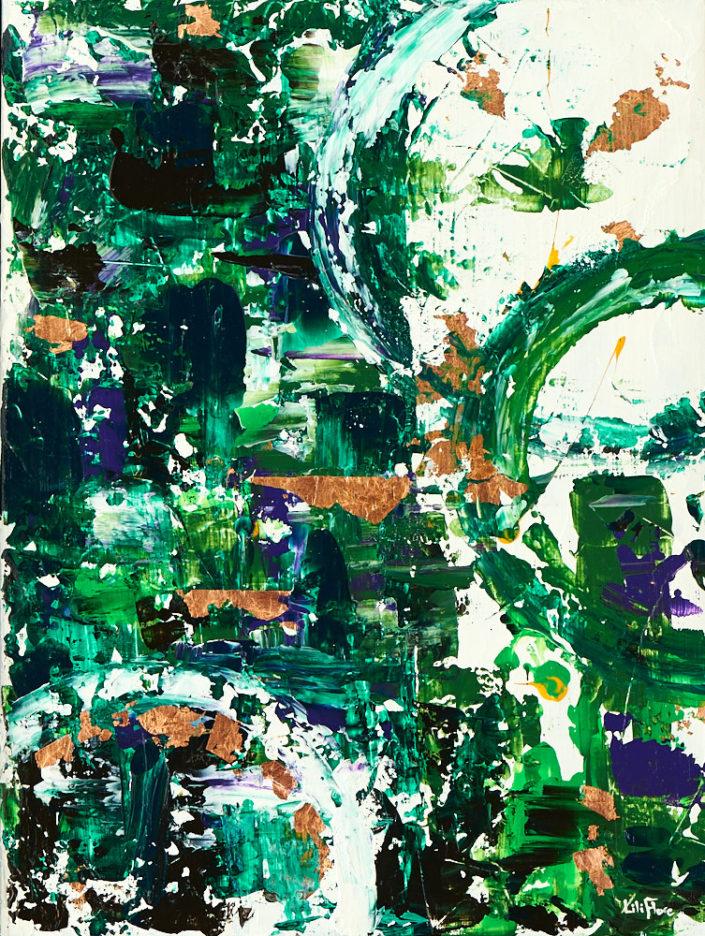 Peinture acrylique abstraite verte ville engloutie avec feuille cuivrée - LiliFlore 2016