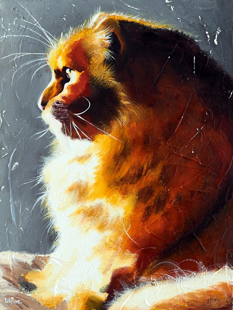 Peinture du chat d'une amie, acrylique sur toile. Par LiliFlore, Montréal. Vendu. Possibilité de comande.