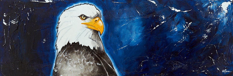 Peinture acrylique texturée d'un aigle de profil sur fond bleu nuit - LiliFlore 2016