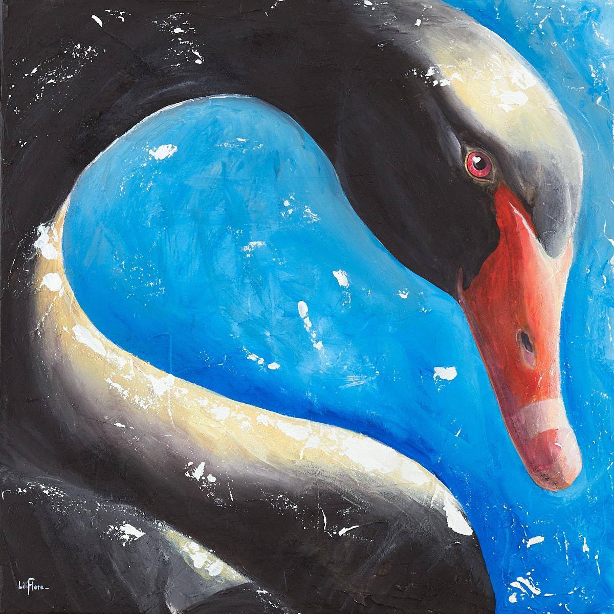 Peinture d'un cygne noir au soleil, acrylique sur toile, par LiliFlore, Montréal. À vendre.