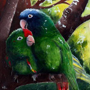 Peinture acrylique texturée de deux perroquets enlacés (inséparables) - LiliFlore 2016