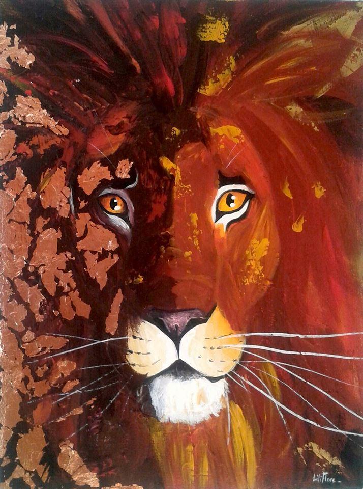 Peinture acrylique texture et feuille dorée d'un lion de face - LiliFlore 2016