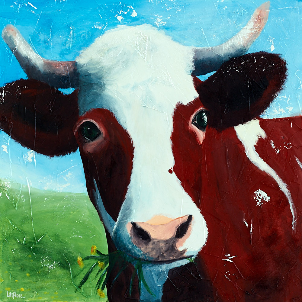 Peinture d'une vache, acrylique sur toile. Par LiliFlore, Montréal. 2016. À vendre.