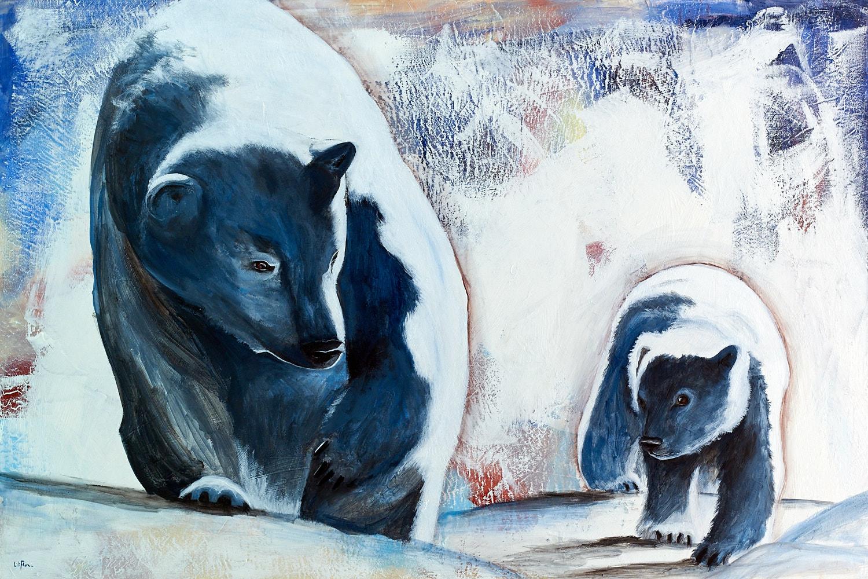 Peinture acrylique d'une maman ourse et de son bébé qui se regardent - LiliFlore 2016