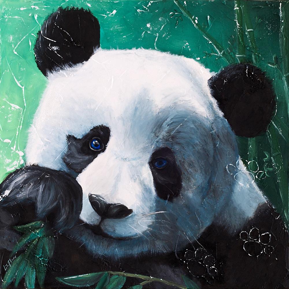 Peinture d'un panda grignotant du bambou. Acrylique sur toile, 2016, par LiliFlore, Montréal.