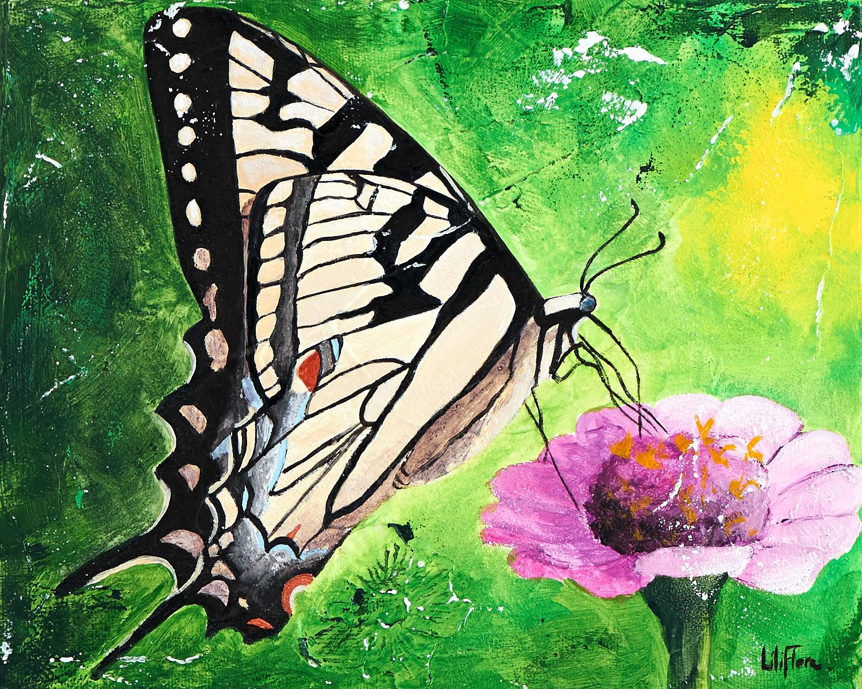 Peinture acrylique texturée d'un papillon tigré du Canada sur une fleur - LiliFlore 2016