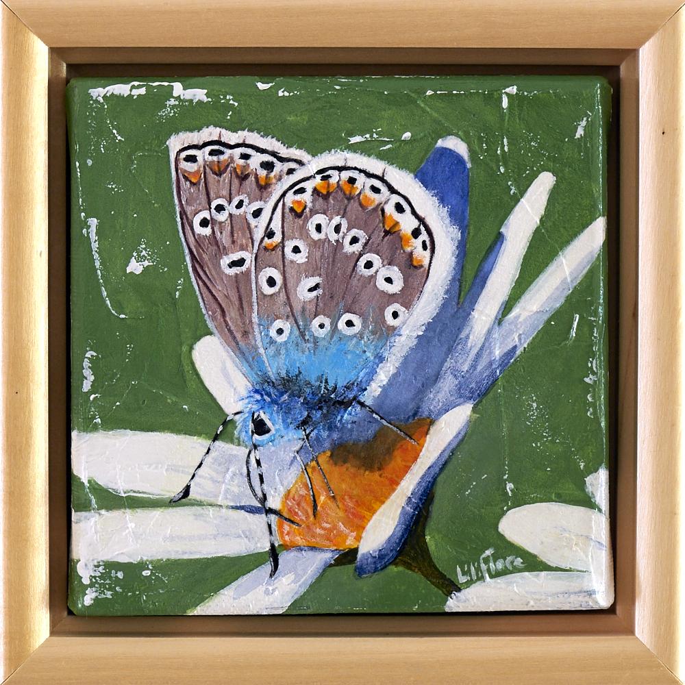 Peinture acrylique texturée d'un papillon bleu et blanc posé sur une fleur - LiliFlore 2016