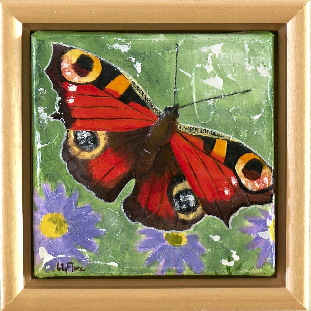 Peinture acrylique texturée d'un papillon européen Paon du Jour posé sur une fleur - LiliFlore 2016