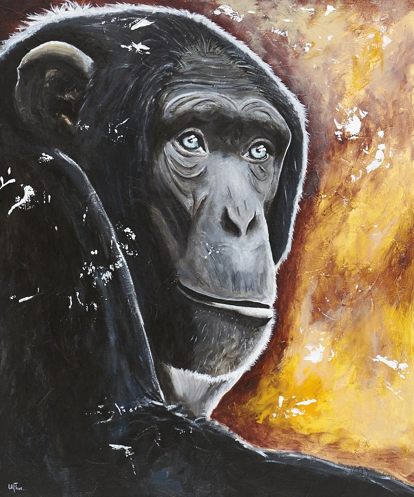 Singe chimpanze songeur fond jaune orange yeux bleu gris contraste lumière peinture acrylique texture