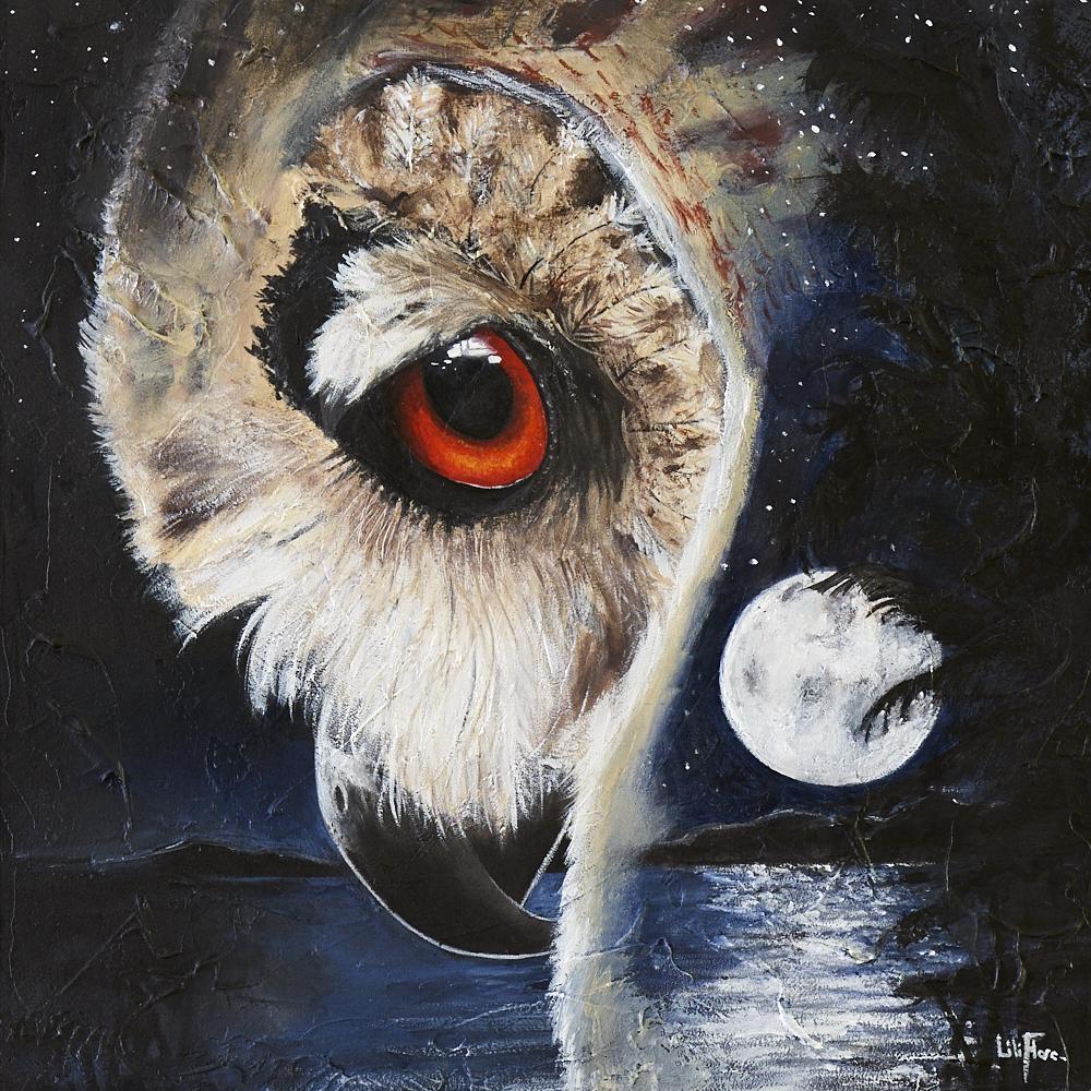 Hibou Grand Duc avec paysage surimpression nuit lune yeux rouge ombre arbre sapin peinture acrylique LiliFlore 2016