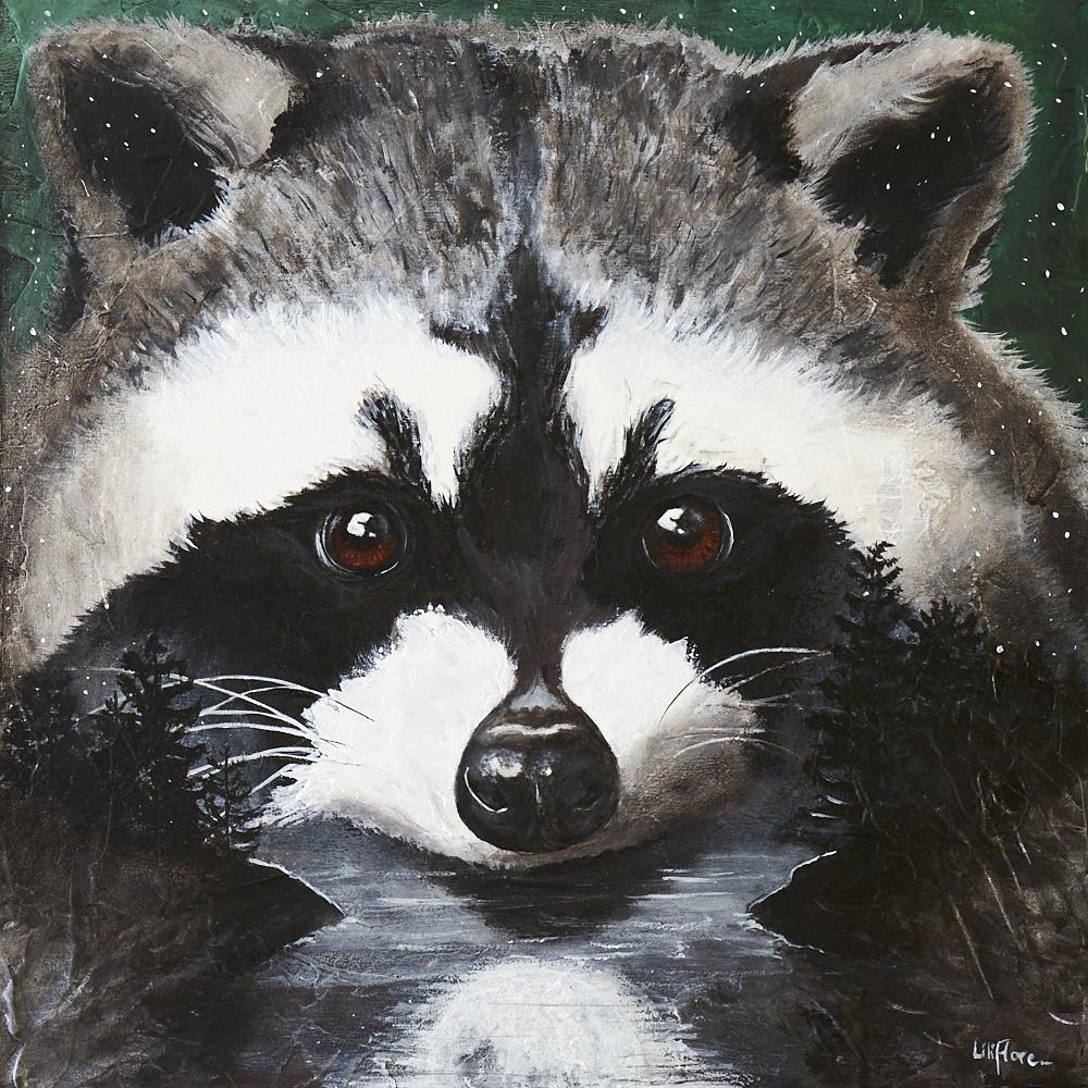 Raton laveur surimpression nuit lune reflet yeux bruns de face acrylique sur bois texture LiliFlore 2016 vendu