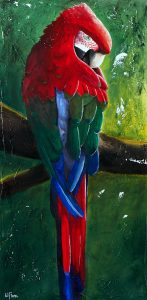 Zouma le perroquet. Peinture à l'acrylique sur toile. Par LiliFlore, Montréal. Vendu.