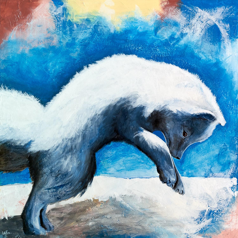 Peinture acrylique d'un renard polaire en train de bondir dans la neige pour chasser - LiliFlore 2016 - vendu