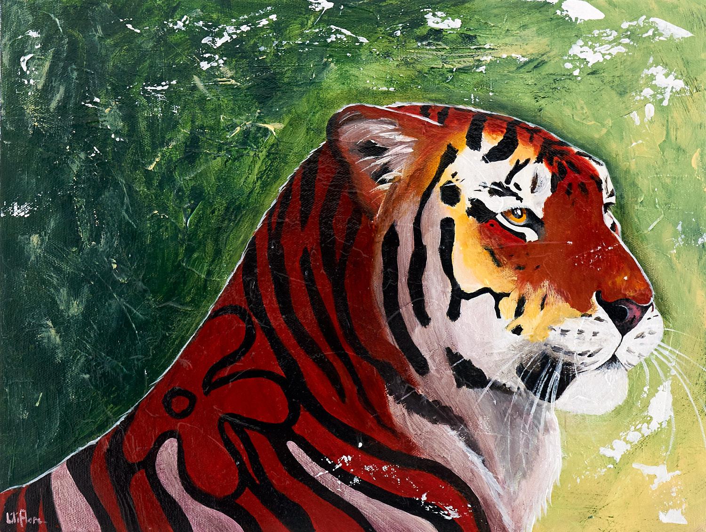 Peinture acrylique texturée d'un tigre avec rayure en fleur - LiliFlore 2016