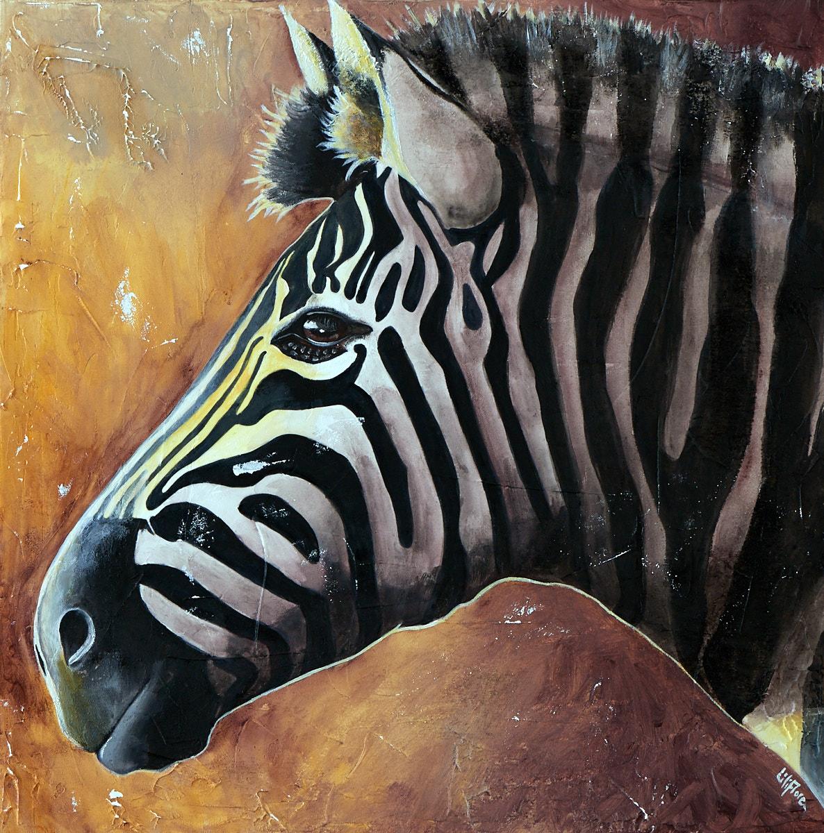 Peinture d'animaux d'Afrique. Acrylique sur toile. Zèbre par LiliFlore. Commande possible, basée à Montréal.