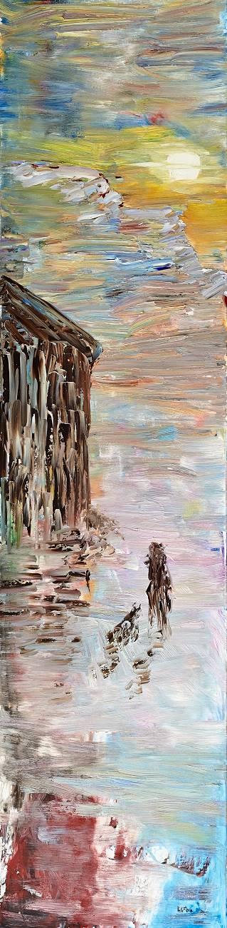 La femme et le chien, peinture à l'huile liliflore