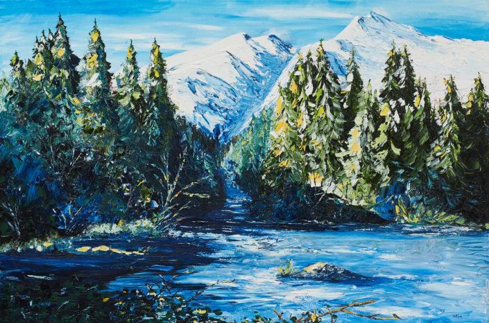 Le Glacier - huile sur toile - 24x36pouces - disponible