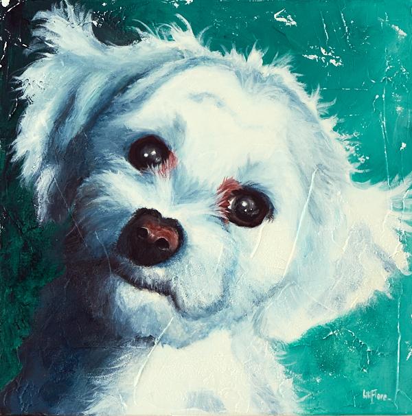Peinture du chien d'une amie, non disponible, possibilité de commande. Acrylique sur toile, LiliFlore. Montréal, 2016.