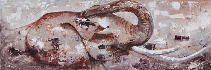 éléphant semi abstrait couleur fond taupe terre de sienne rose gris peinture acrylique sur toile texture par LiliFlore 2017
