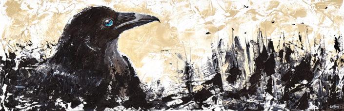 corbeau noir fond semi abstrait ocre paysage arbres peinture acrylique sur toile texture par LiliFlore 2017