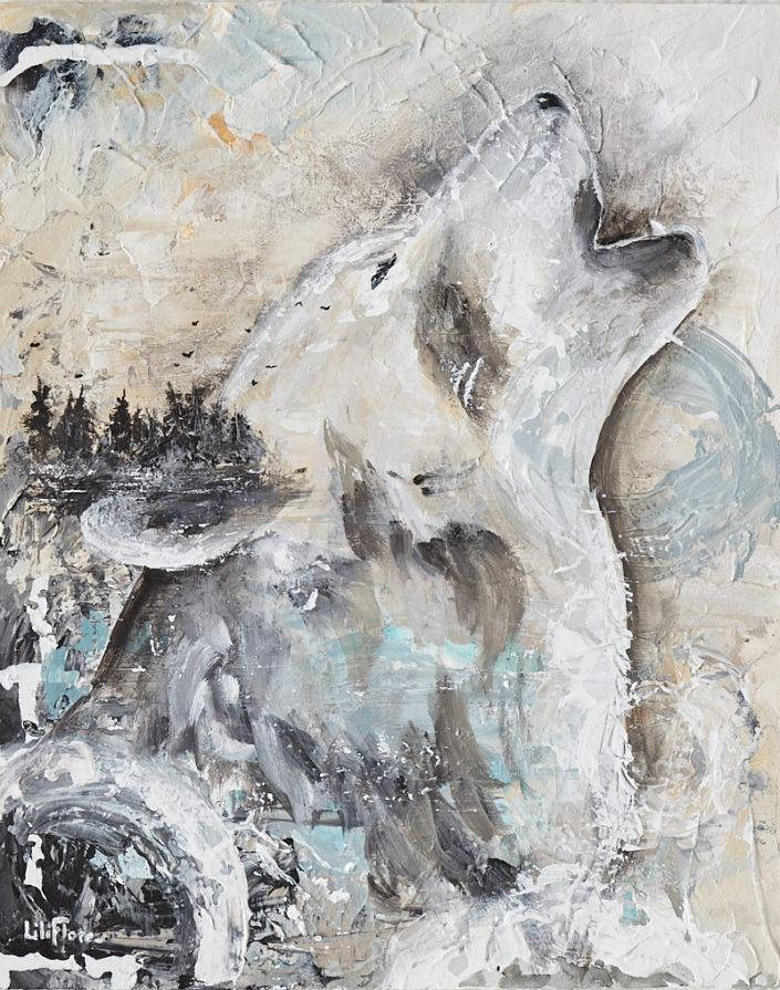 Loup louve hurle fond abstrait paysage semi-abstrait peinture acrylique sur bois texture par LiliFlore 2017