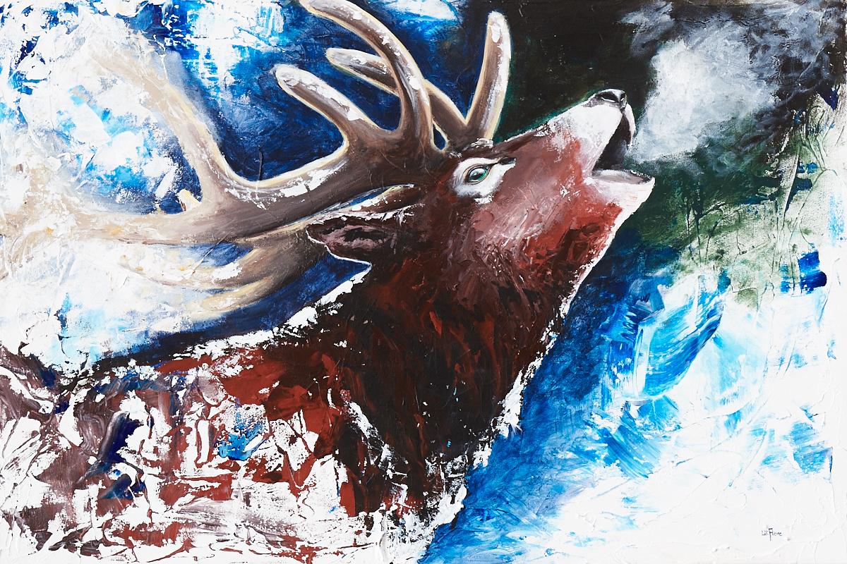 cerf brame semi-abstrait fond bleu peinture acrylique sur toile texture par LiliFlore 2017