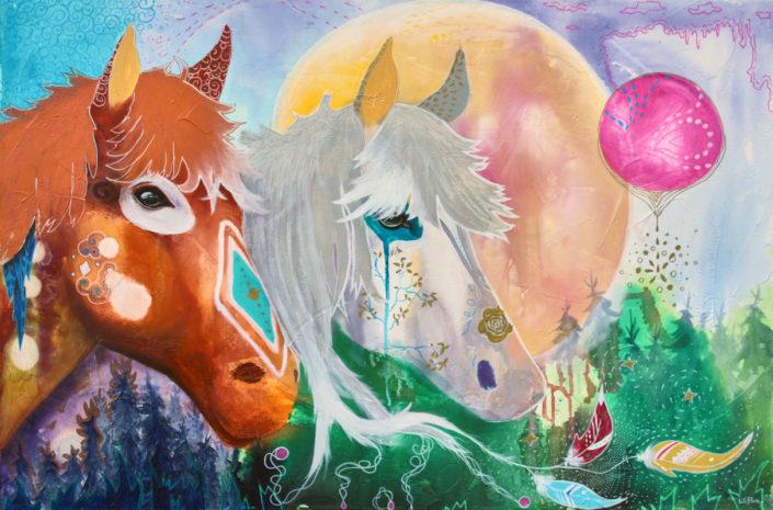 chevaux techniques mixtes sur toile couple divin multicolore fantastique LiliFlore 2017