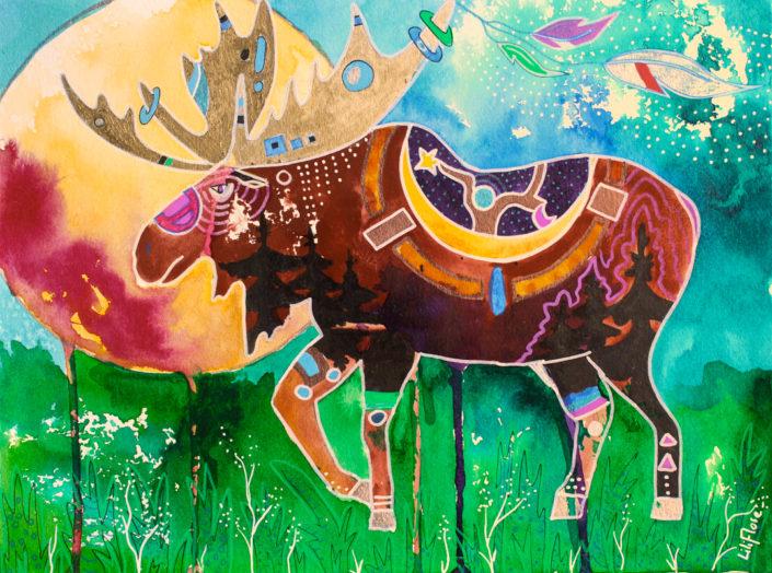 orignal gardien de la foret techniques mixtes sur papier. Multicolore fantastique LiliFlore 2017