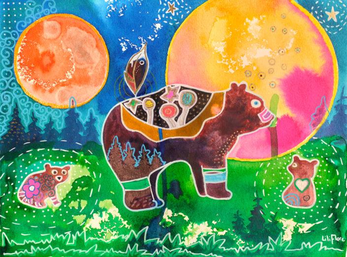 maman ourse et ses 2 bébés techniques mixtes sur papier. Multicolore fantastique LiliFlore 2017