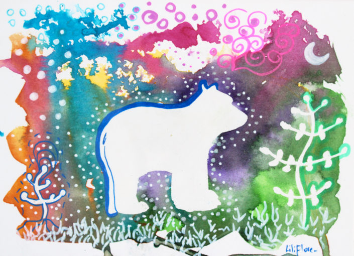 ourse promenade multicolore fantastique techniques mixtes sur papier carte postale