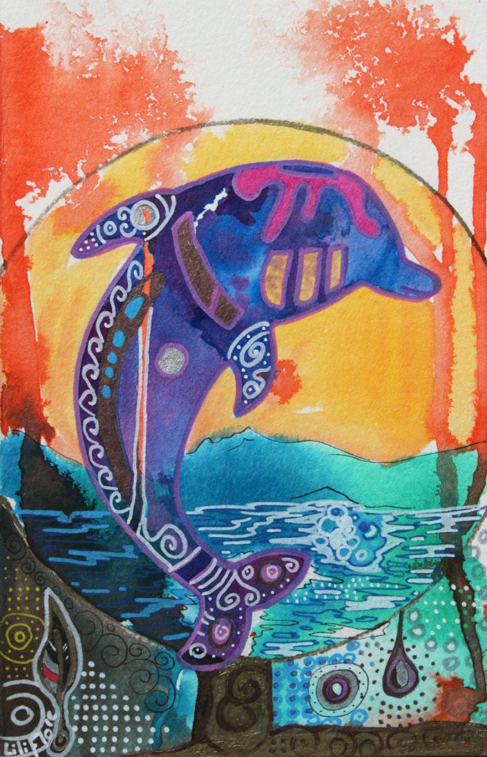 dauphin multicolore sur papier encres acryliques, aquarelle et crayons liliflore 2017