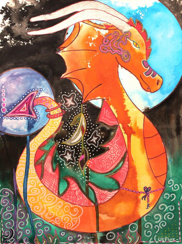 dragon dragonne amie précieuse multicolore fantastique techniques mixtes sur papier LiliFlore 2017
