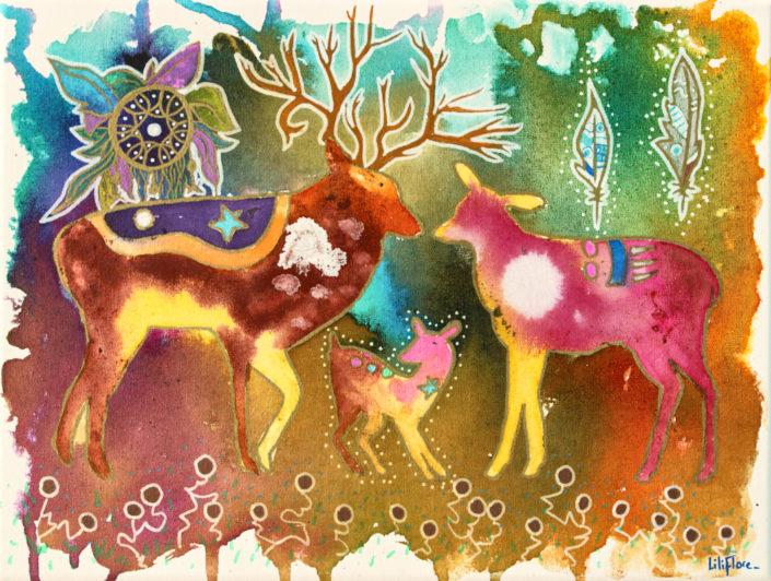 cerf biche faon cercle parfait multicolore fantastique techniques mixtes sur toile LiliFlore 2017