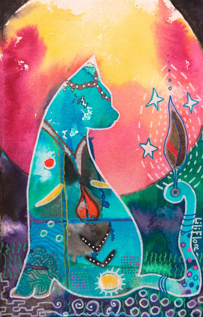 chat bleu multicolore fantastique techniques mixtes sur papier LiliFlore 2017