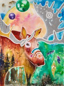 peinture orignal gardien de la foret grand format technique mixte multicolore LiliFlore 2017