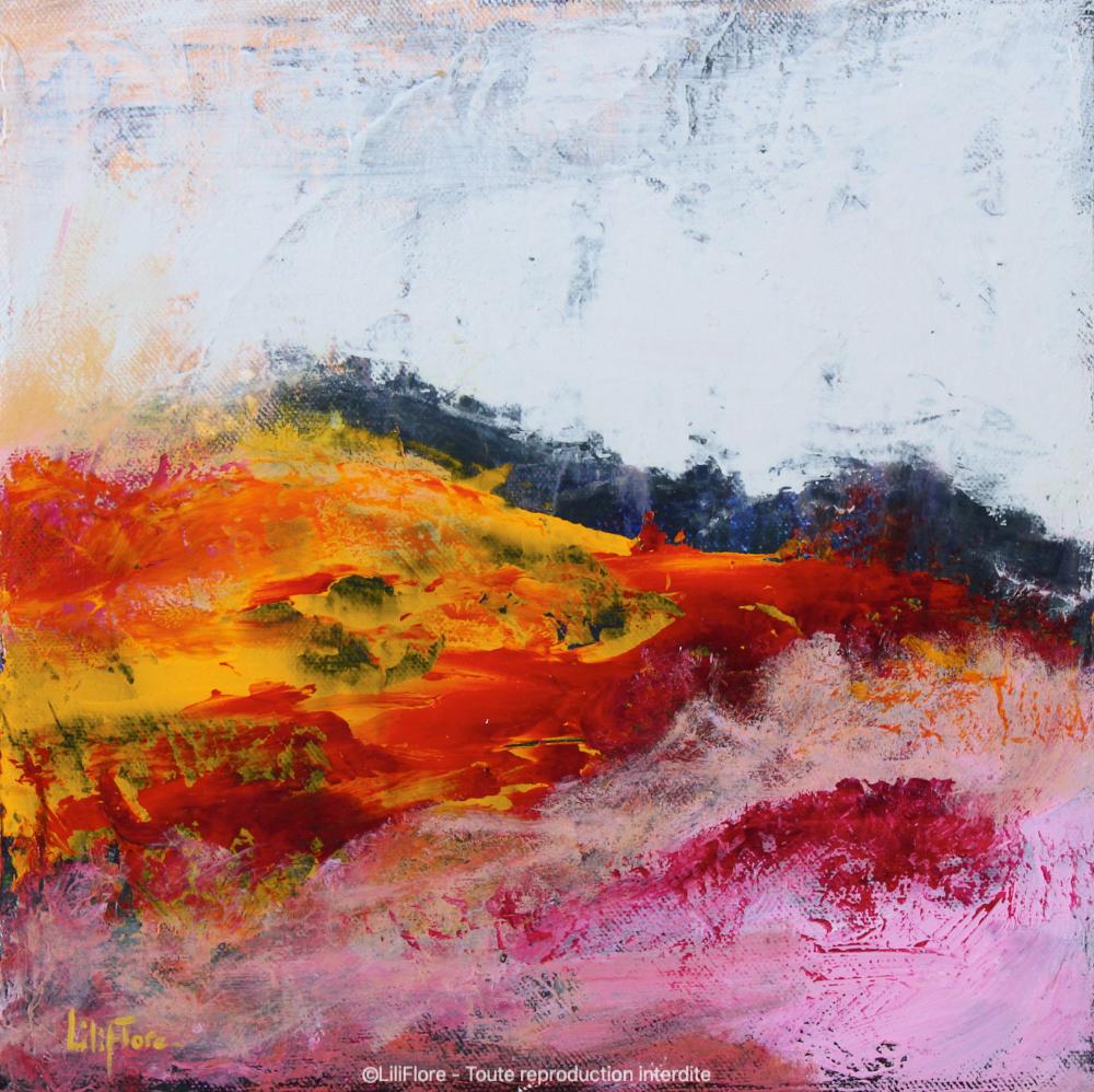 Jamais sans toi (Atacama, Chili) - Acrylique sur toile -10x10pouces - disponible - LiliFlore - peinture contemporaine - abstraction lyrique