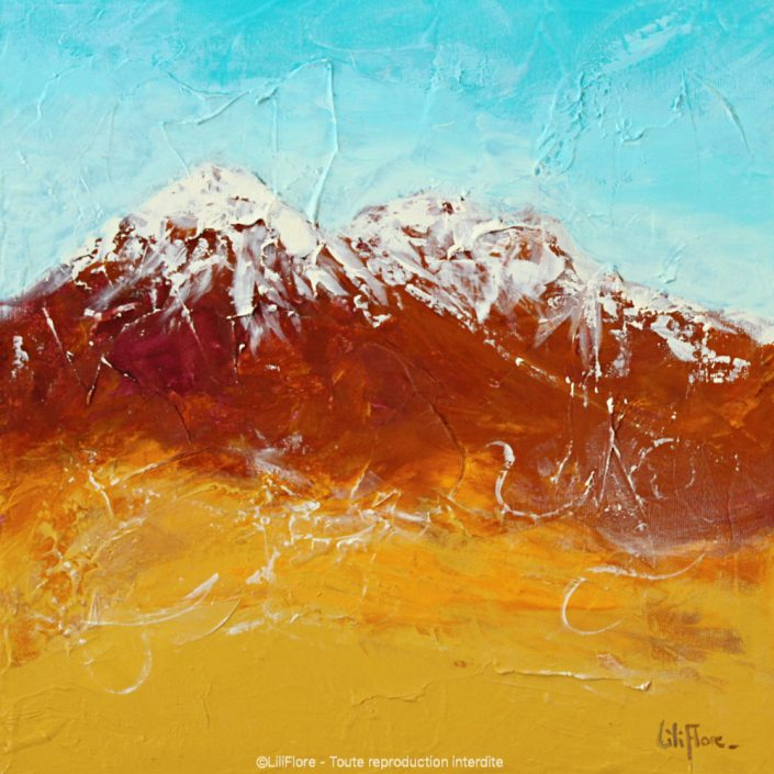 Prendre de l'altitude (Atacama, Chili) - Acrylique sur toile -12x12pouces - disponible - LiliFlore - peinture contemporaine - abstraction lyrique