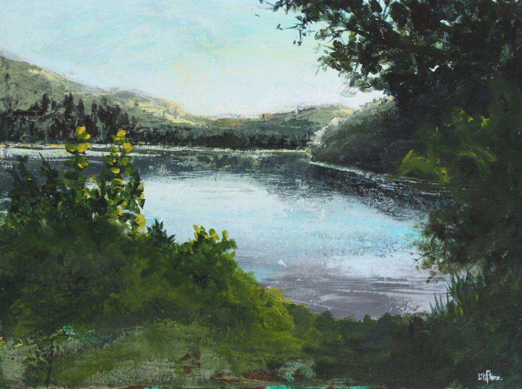 Au bord du Lac Rond - Ste Adèle - acrylique sur toile - 12x16pouces - disponible - LiliFlore