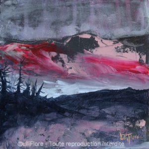 Chut... elle arrive ! - Acrylique sur toile -8x8pouces - vendue - LiliFlore - peinture acrylique contemporaine