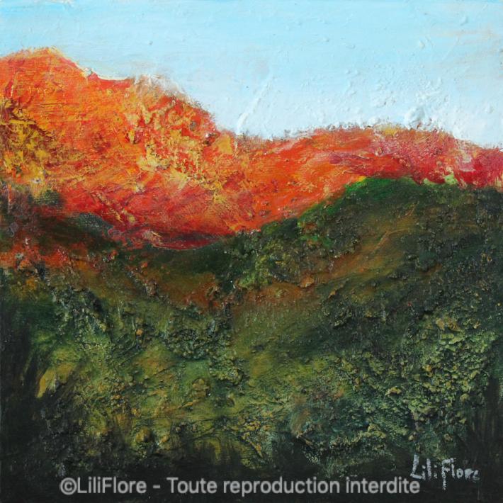 En chemin - Acrylique sur toile -8x8pouces - disponible - LiliFlore - peinture acrylique contemporaine