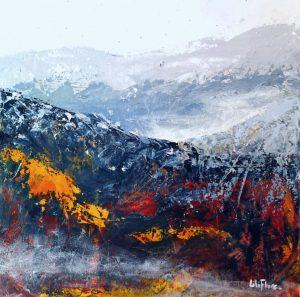 Et je marche enfin sur mon chemin - acrylique sur toile -10x10pouces - vendu - LiliFlore - peinture acrylique contemporaine