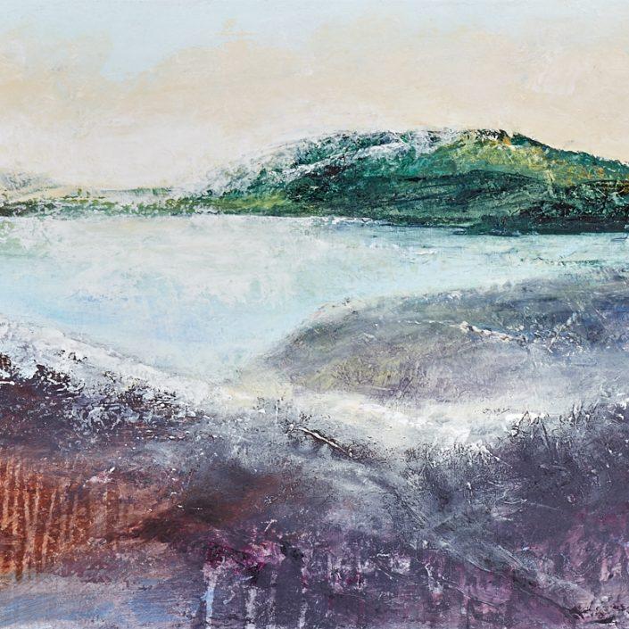 Lueurs du Soir acrylique sur toile 20x30pouces disponible paysage contemplatif LiliFlore 2018