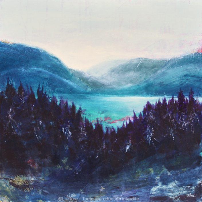 Loin de Tous - acrylique sur toile - 20x20pouces - disponible - LiliFlore - peinture contemporaine