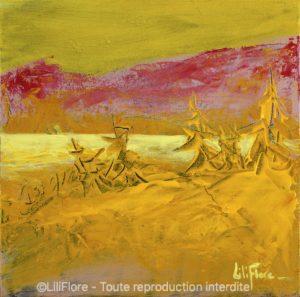 Souffle d'été - Acrylique sur toile -8x8pouces - vendue - LiliFlore - peinture acrylique contemporaine