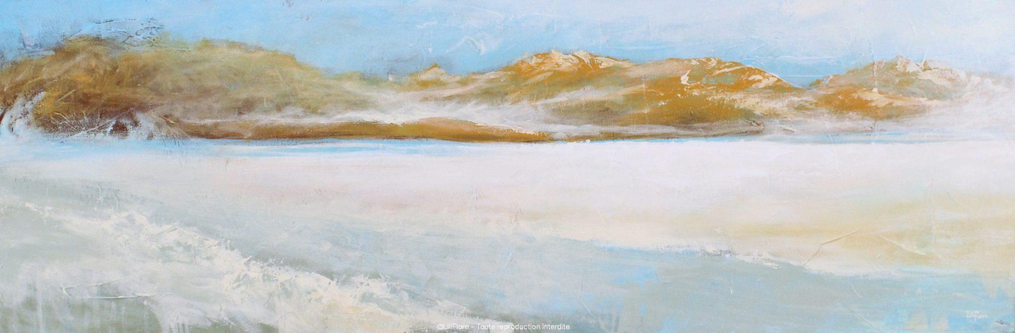 Le désert de sel - Acrylique sur toile -16x48pouces - disponible - LiliFlore - peinture acrylique contemporaine