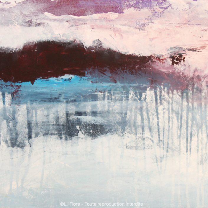 Le lac des Îles et son manteau blanc (Entrelacs) - Acrylique sur toile -18x14pouces - disponible - LiliFlore - peinture acrylique contemporaine - 2019