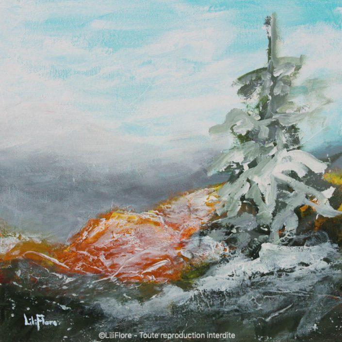 Neiges d'automne - Acrylique sur toile -10x10pouces - vendue - LiliFlore - peinture acrylique contemporaine -2019