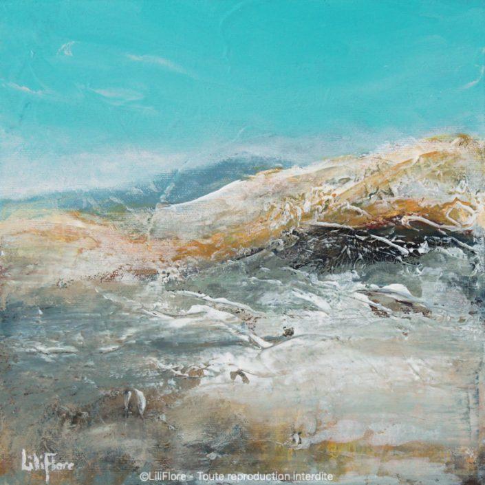 À l'aube de l'hiver - Acrylique sur toile -10x10pouces - disponible - LiliFlore - peinture acrylique contemporaine