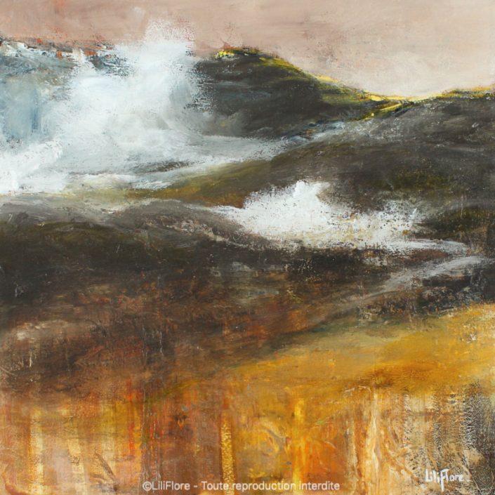 Dans mes pensées - Acrylique sur toile -12x12pouces - disponible - LiliFlore - peinture acrylique contemporaine
